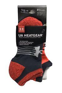 Under Armour Heatgear No Show Socks 3 Pairs - White, Orange & Gray SZ 13.5-4Y