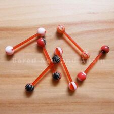 16g Acrylic Hypoallergenic Non Metallic 18-20mm Long Barbell - Red (some UV)