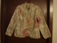 Alfred Dunner 10P Petite Quilted Multi-color Brown Mandarin Open Front Jacket