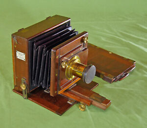Rare W. W ROUCH Patent Portable Half Plate Mahogany Brass Vintage Camera c. 1878