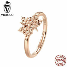 VOROCO 925 Sterling Silver Rose Gold Plated Unique Maple Leaves Rings Adjustable