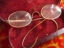 True Vtg 1900s Eye Glasses Wire Frame Full Rimmed Hook Ear Steampunk Specs Mens