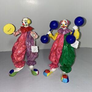 "Vintage 1989 Joyeria Ropa Piel Artesanias Juggling Clowns 9"" Figurines-Lot Of 2"