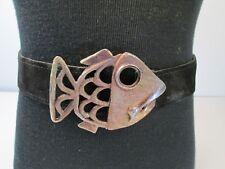 Vtg 1980s Metal Fish Buckle Womens Belt Statement Suede  Belt Big Eye