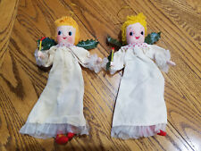 "Vintage Lot of 2 Bendable Cloth Angels Japan 10"""