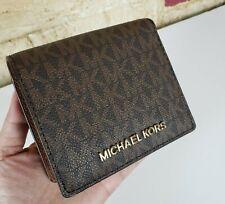 Michael Kors JET SET TRAVEL MD CARRYALL CARDS CASE MK BROWN SIGNATURE WALLET