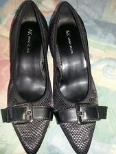 Anne Klein Black Fabric  upper with Buckle Accent High Heels Size 8.5 M
