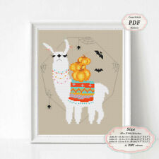 Llama with Pumpkin Cross stitch PDF digital Pattern Halloween Embroidery #286