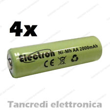 4 Batterie Pile Ricaricabili Ni-Mh AA Stilo 1,2V 2000mAh 14x50mm ready to use