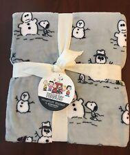"Peanuts Snoopy & Snowman Velvet Soft Berkshire Fleece TWIN Blanket 60"" x 90"""