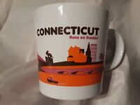 Dunkin Donuts Connecticut Runs on Dunkin Coffee Mug Cup 2012 CT White Orange