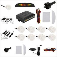 Universal White Car Parking Reversing 8 Sensors Kit Buzzer Backup Radar Alarm