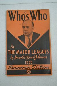 1935 1st Edition Who's Who in The Major Leagues Souvenir Edition Harold Johnson