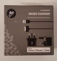 Goji G130PCH17C 1m 2.1A Mains Charger + Apple 30 Pin Cable - Black
