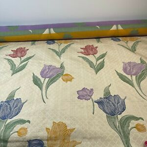 fabric beige floral tulips 54 wide x 104 2.8 yards crafts sewing drapery upholst