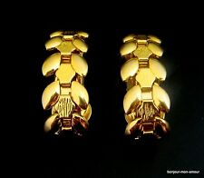 Vintage Blätterranke Creolen Ohrclips Ohrringe, vergoldet, elegant & très chic