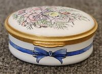 LOVELY VINTAGE STAFFORDSHIRE ENAMELS ENGLAND OVAL PINK YELLOW FLORAL TRINKET BOX