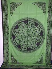 "CELTIC Knot MANDALA Green Pagan Wicca Altar Cloth TAPESTRY Bedspread 72"" x 108"""