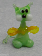 Glass Blown Art Figurine Animal Mini Green CAT yellow bowtie Murano Style # 4253