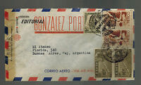 1945 Mexico DF to Buenos Aires Argentina Censored Airmail cover Editorial Gonzal