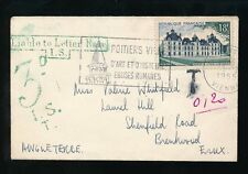 POSTAGE DUE GB FRANCE 1955 BRENTWOOD Unsealed..LIABLE LETTER RATE BOXED GREEN