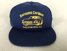 Vintage Southards Car Wash Hat Trucker Cap Galesburg IL Foam Mesh Blue Snap Back