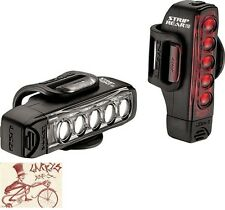 LEZYNE STRIP DRIVE BLACK BICYCLE HEADLIGHT AND TAILLIGHT SET