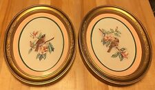 Two Vintage Home Interiors Oval Gold Plastic Framed Bird Pictures Wall Decor