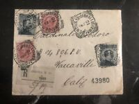 1910 Genova Italy Registered Cover To Vacaville Ca USA