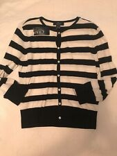 Chaps by Ralph Lauren Blue White Stripe Cotton Cardigan Sweater Small NWT