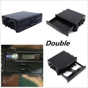 Black Double Din Dash Radio Installation Pocket Cup Holder Storage Box For Car