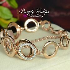2Fashion Circles Made With SWAROVSKI Crystals Bracelet,18CT Rose Gold Plated
