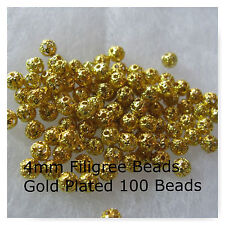 100 Filigree Round 4mm Gold Plated Finish Jewelry Beads Craft Supply