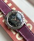 Vintage Zodiac Aerospace GMT Automatic Glossy Black Dial Steel Case Watch