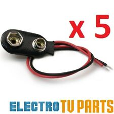 5 x PP3 9V Battery Leather Snap-on Connector Clip Tinned Wire Leads 150mm TYPE-B