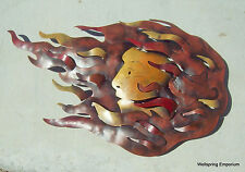 "Flaming Sun Face 26"" Metal Wall Art Indoor Garden Wellness Spa Bistro Cafe Yard"