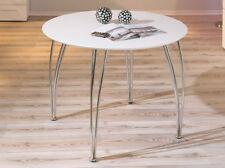 ESSTISCH Platte weiß lackiert, Gestell verchromt, 100 cm Durchmesser NEU & OVP