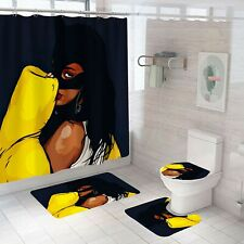 Cat Woman Bathroom Rug Set Shower Curtain Thick Soft  Bath Mat Toilet Lid Cover