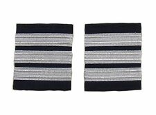 Epaulette Airline Pilot Captain First officer 3 Silver Bars On Navy Blue R1716