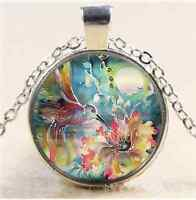 Hummingbird Whit Flower Cabochon Glass Tibet Silver Chain Pendant Necklace
