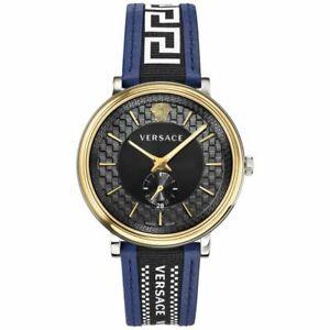 Versace Men's Swiss V-Circle Greca Edi Black Dial Leather Strap Watch VEBQ01419