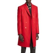 VERSACE COLLECTION Double Breasted Wool Red Men's Top Coat $1250