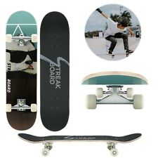 Complete Skateboard Double Kick Deck Concave White Wheels 31''x 8'' Longboard