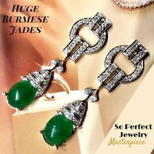 ART-DECO Burmese Jade Diamonds 18K Solid White Gold Chandelier Earrings Natural