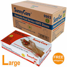 10,000/CS Poly Disposable Food Service HDPE Gloves (Latex Vinyl Nitrile Free) -L