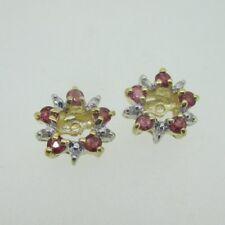 14K Yellow Gold Ruby & Diamond Earring Jackets