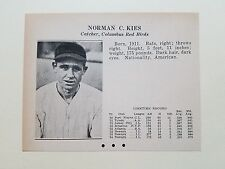 Norman Kies Columbus Red Birds & Johnnie Jones Mud Hens  1935 Scrapbook Card