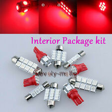 Red SMD Lights Bulb Car Interior LED Package  8pc Kit For Honda Civic 2013-2015