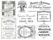 Furniture Glass Ceramic Decal Image Transfer Vintage French Typography Labels
