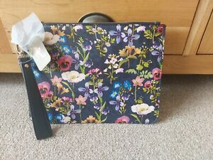 BNWT Accessorize Clutch Bag Navy Floral Pattern